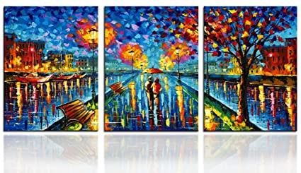 22615fb50f5 Amazon.com  CANVASZON Wall Decorations Couple Walking in Street with ...