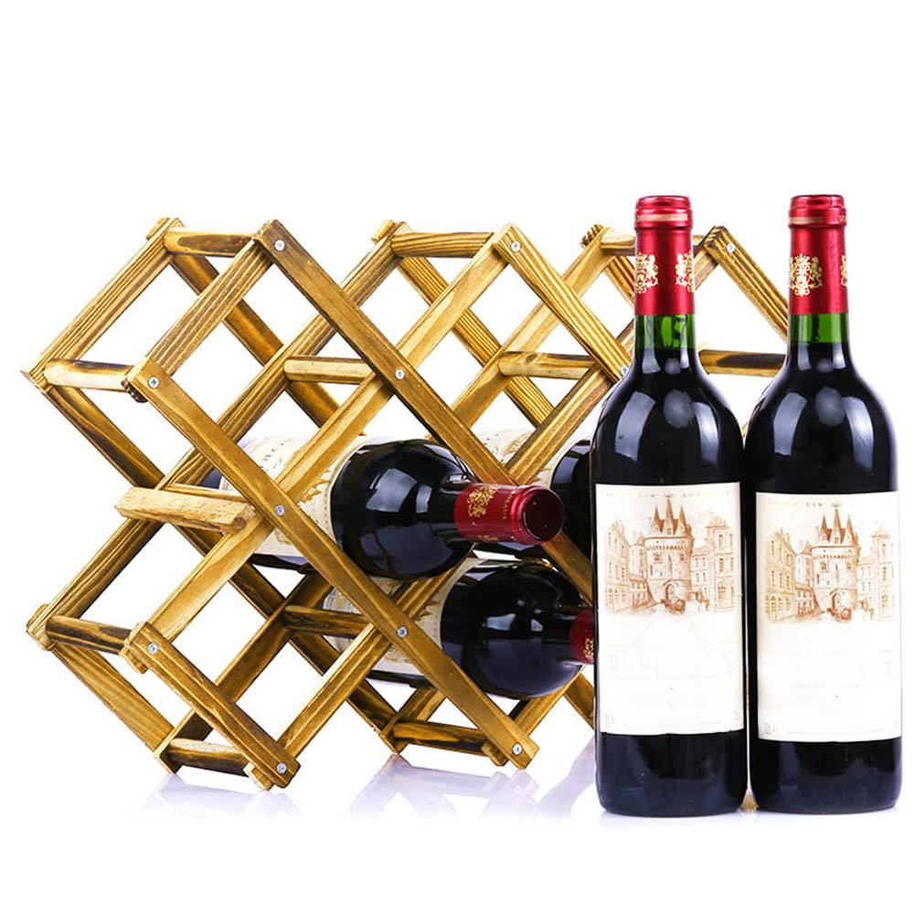 Klappbare Weinregal powstro 10 Flaschen Wein Halter Holz ...