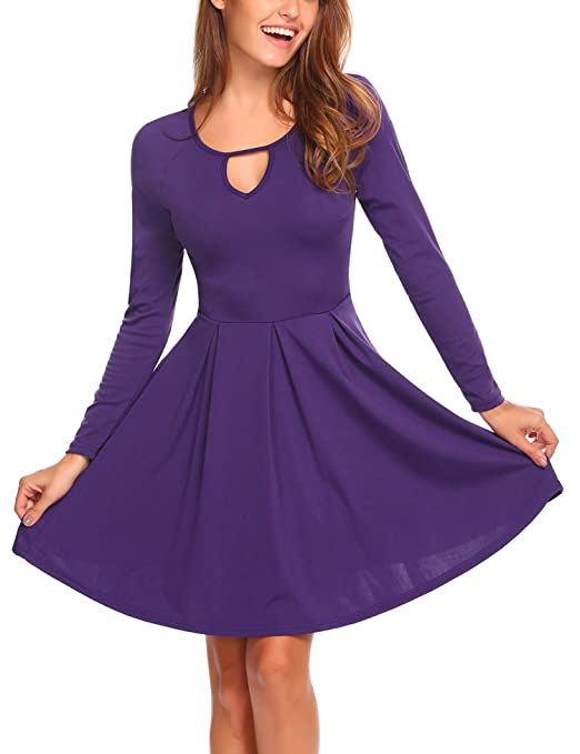 Zeagoo Women Long Sleeve Fit and Flare Cotton A-line Pleated Fall Dress Knee Length