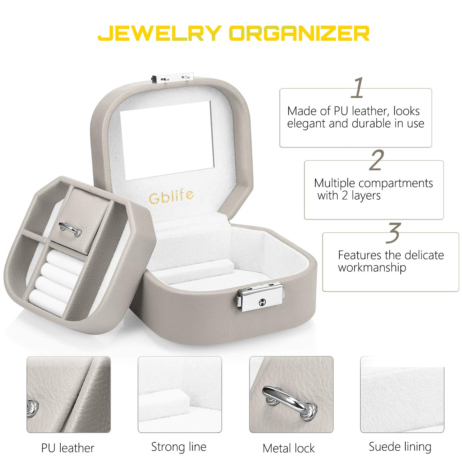GBlife Jewellery Box, Jewel Box Organiser Display Case PU Leather Woman, Double Layers 5 Compartments, Storage Box Necklaces, Bracelets, Earrings, Hairpins, Cufflinks (Grey)
