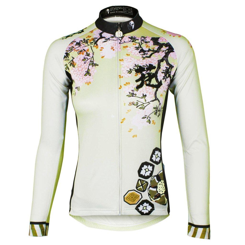 PaladinSportチェリーパターン女性の秋の長袖サイクルアパレルand Bibパンツセット Medium 685L-Long sleeve B01N7M65K4