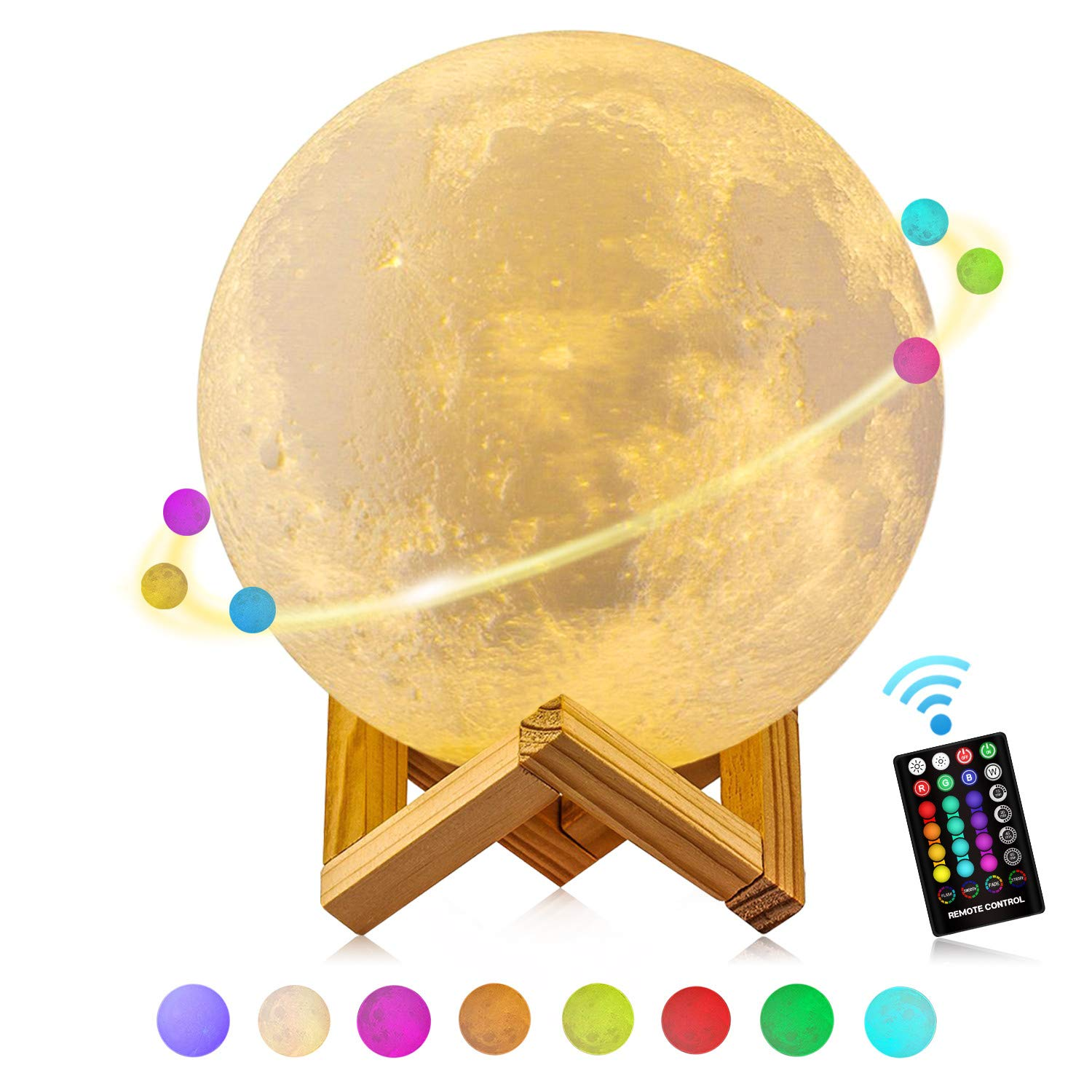 Grand! 18cm Lampe de Lune, GDREAMT 16 Couleurs 3D Lumiè re Lune Té lé commande et Contrô le Tactile/Fonction Minuterie/Dimmable/Lampe de nuit Rechargeable USB Universelle (7,1inch)