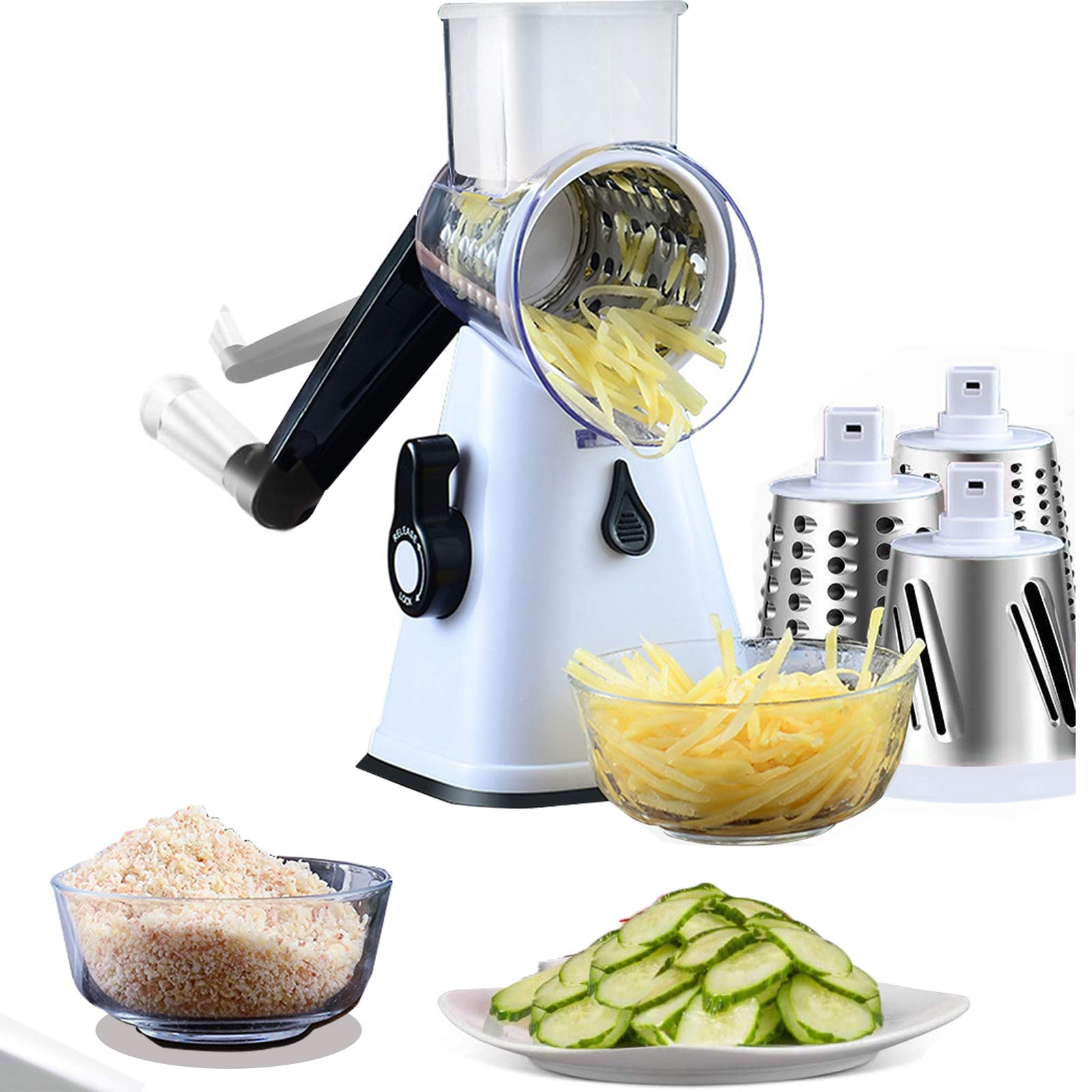 Manual Rotary Cheese Grater -Round Mandoline Slicer with 3 Interchangeable Blades -Vegetable
