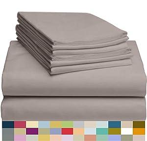 "LuxClub 6 PC Sheet Set Bamboo Sheets Deep Pockets 18"" Eco Friendly Wrinkle Free Sheets Hypoallergenic Anti-Bacteria Machine Washable Hotel Bedding Silky Soft - Mocha King"