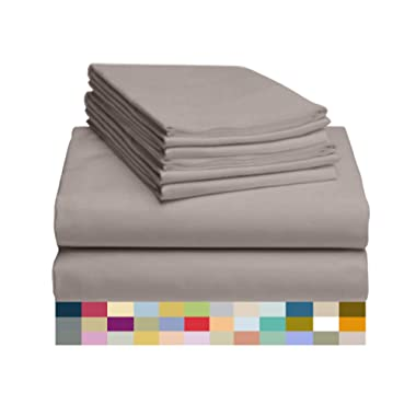 LuxClub 6 PC Sheet Set Bamboo Sheets Deep Pockets 18  Eco Friendly Wrinkle Free Sheets Hypoallergenic Anti-Bacteria Machine Washable Hotel Bedding Silky Soft - Mocha King