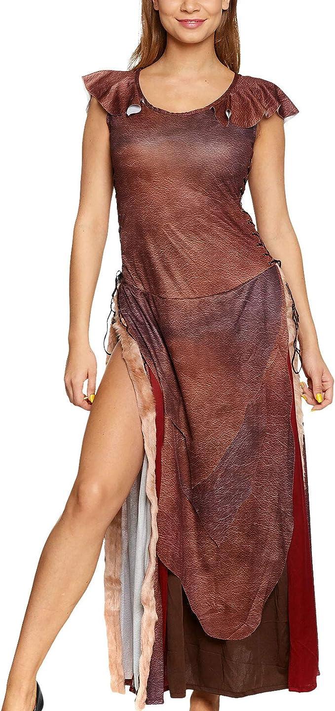 Wild Queen Damen Kostüm Kleid mit Schnürung für Daenerys Fans Elbenwald  braun