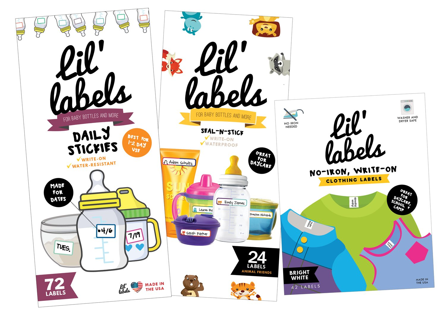 Daycare MEGA Pack - Write On Kids Name Labels, Waterproof (Animal Baby Bottle Labels/Plain Clothing Labels/Date Labels) by Lil' Labels