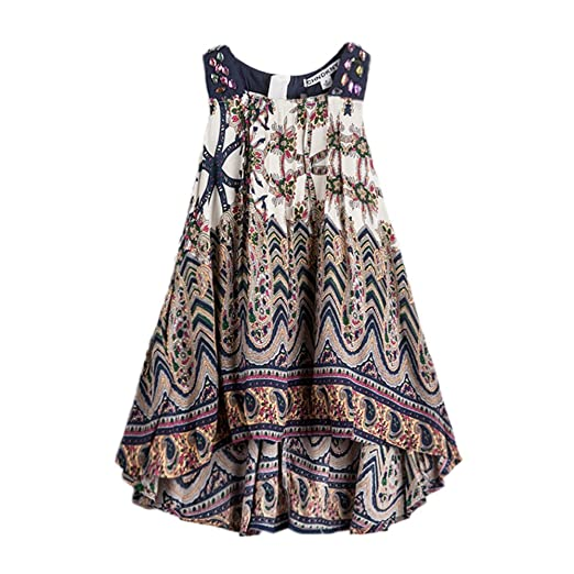 9eebeec9a99 childdkivy Baby Girls Summer Dress Bohemian Fashion Clothes (3(2-3year)