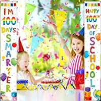 Allenjoy The 100th Day of School Door Banner for Party Decorations Flags 100 Days Smarter Welcome Hanging Wall Porch…