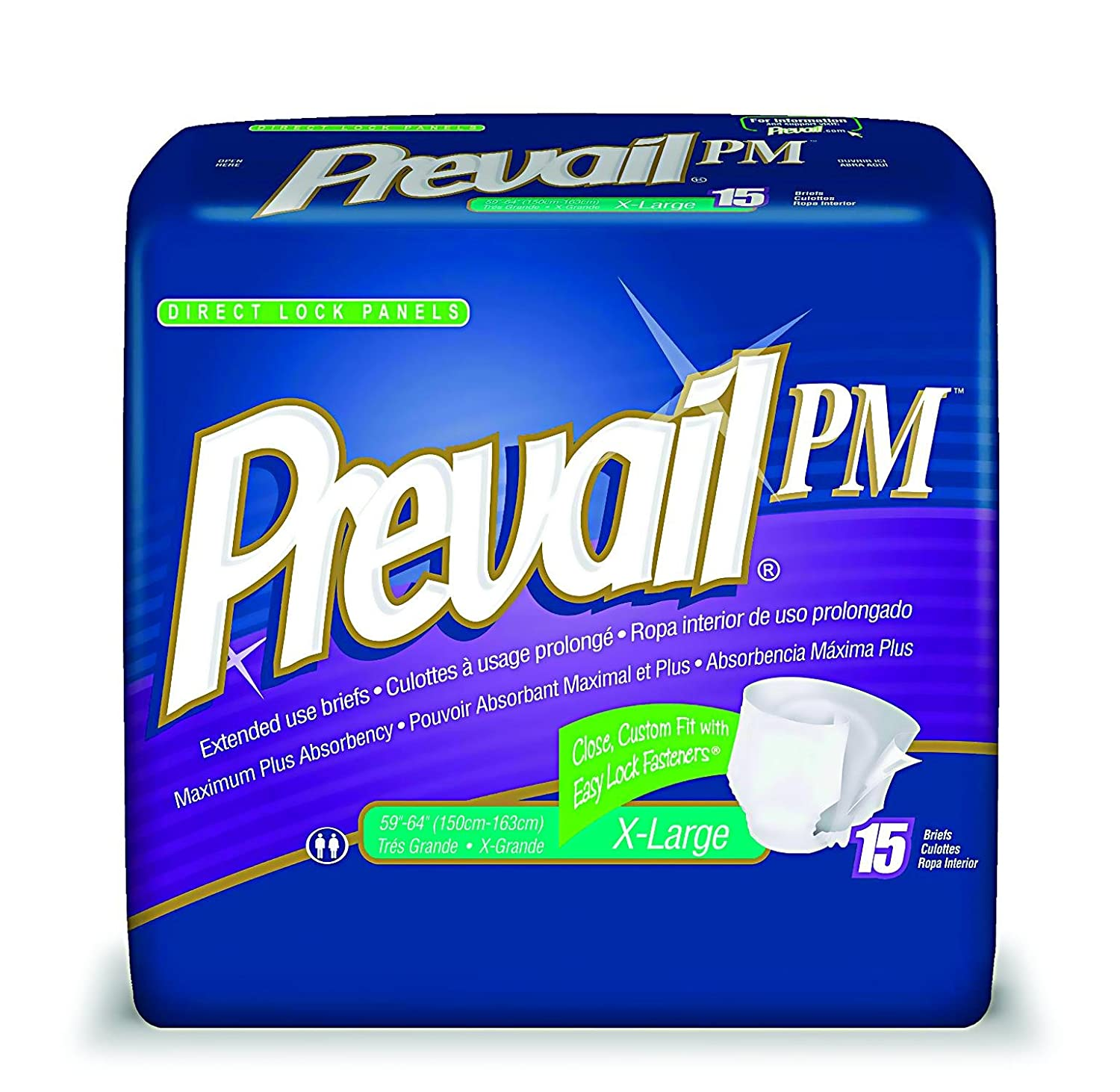 Amazon.com: Prevail Pm Extended Wear Adult Briefs Medium /White/Case of 96: Health & Personal Care