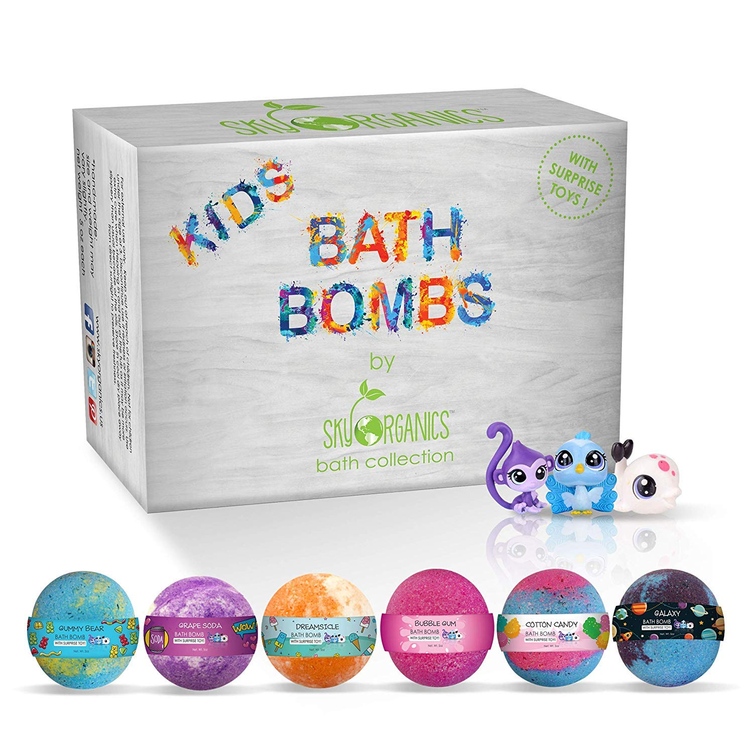 Kids Bath Bombs Gift Set with Surprise Toys, 6x5oz Fun Assorted Colored XL Bath Fizzies, Kid Safe, Gender Neutral with Natural Essential Oils -Handmade in the USA Bubble Bath Fizzy by Sky Organics