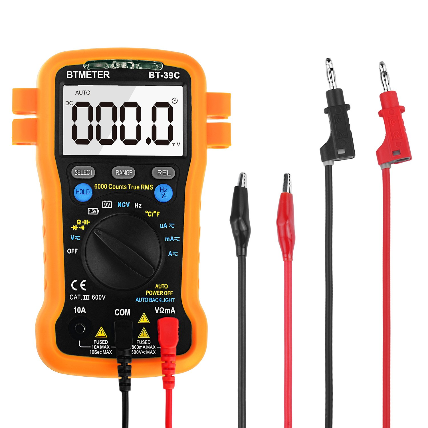 Multimeter, BTMETER BT-39CAuto Range Digital Avometer Universal Meter 6000 Counts With NCV, Diode, AC & DC Voltage, AC & DC Current, Resistance, Capacitance, Frequency,Give multimeter leads 9103