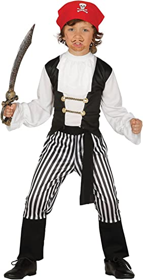 Guirca - Disfraz de pirata con traje y pañuelo, para niños de 5-6 ...