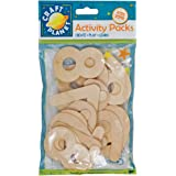 Craft Planet 20-Piece Natural Wooden Number, Beige
