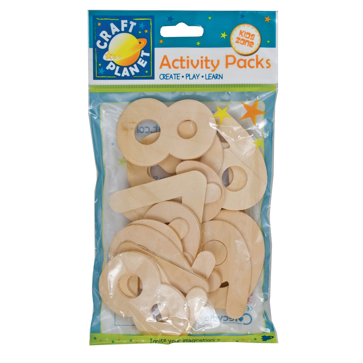 Craft Planet 20-Piece Natural Wooden Number, Beige by Craft Planet CPT6681117