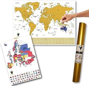 Global Walkabout A2 - Póster de mapa del mundo para rascar y bonificar (A3, mapa de Europa con banderas), tamaño grande, regalo de viaje: Amazon.es: Juguetes y juegos