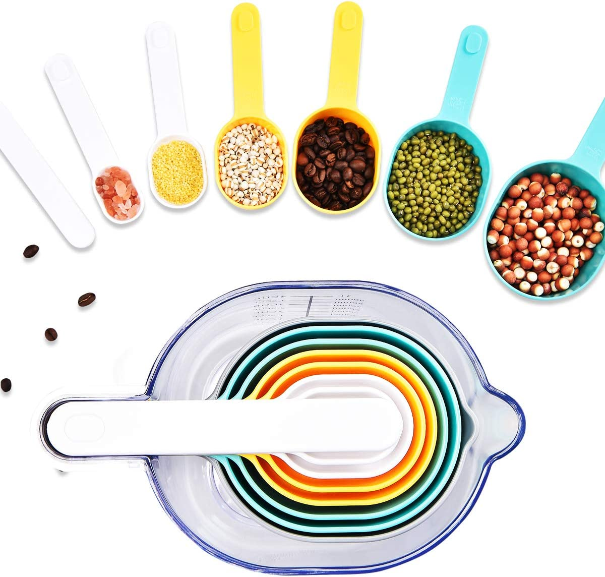 FAVIA Measuring Cup and Measuring Spoons Set with One Scraper One Funnel 9 Pieces Plastic Cooking Baking Kitchen Utensil BPA Free Dishwasher Safe