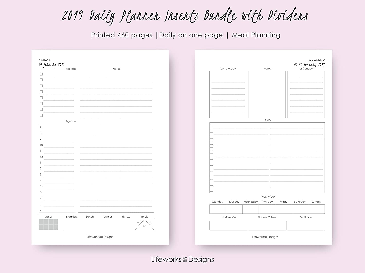 Amazon.com: 2019 Daily A5 Planner Inserts Bundle with ...