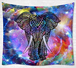 """JOYSOG Psychedelic Elephant Tapestry Wall Hanging Hippie Colorful Tie Dye Tapestries Trippy Animal Wall Tapestry for Bedroom Living Room Dorm - 60"""" x 50"""""""