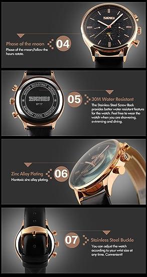 nextstart Fashion Casual para hombre relojes marca de lujo de cuero los hombres de cuarzo reloj de pulsera: Amazon.es: Relojes