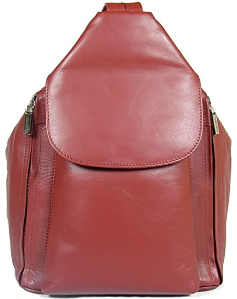 6a2be3eebac3 New girls ladies gorgeous Visconti dark red soft leather backpack bag style  18357