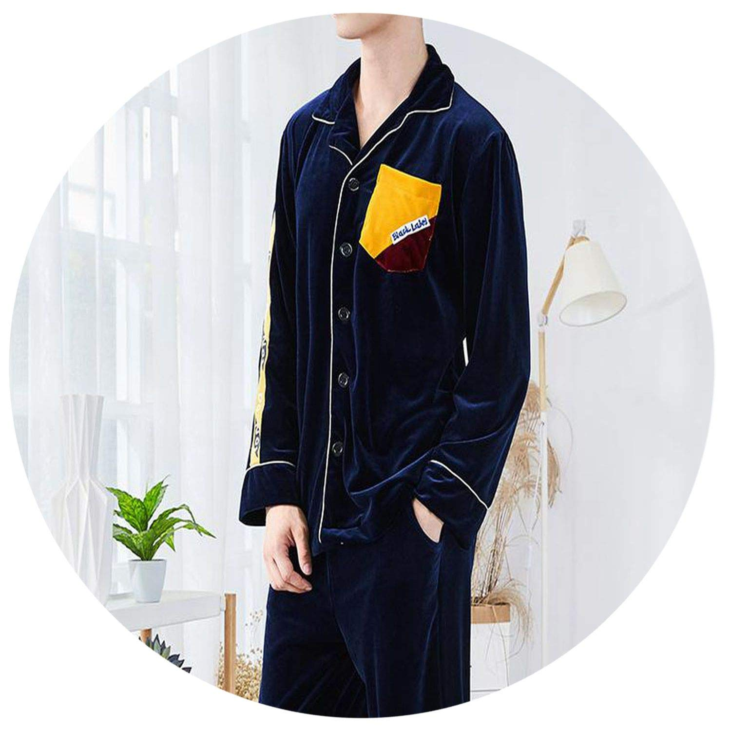 Men Warm Pajamas Set Velvet Long Sleeve 2PCS Sleepwear Daily Casual Home Clothes Solid Color Male Night Wear