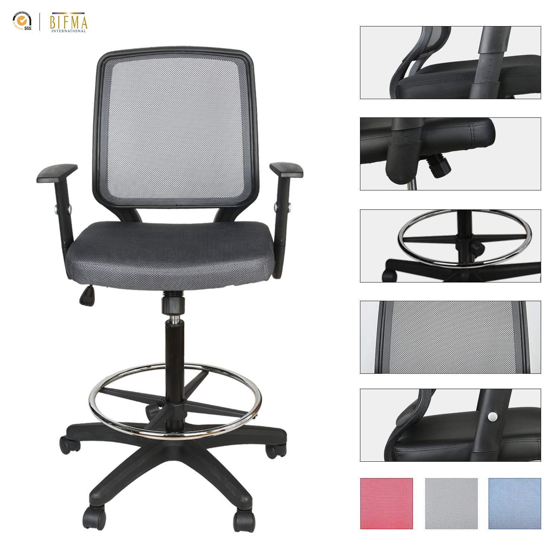 LUCKWIND Office Drafting Chair Mesh - Adjustable Arm Task Ergonomic Lumbar Support MidBack Computer Desk Chair Swivel Chair with Adjustable Chrome Foot Rest (SGS-BIFMA Grey) Tilt Control