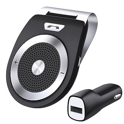 Zhuanjiao Bluetooth Manos Libres Coche Kit AUTO POWER ON con Sensor de Movimiento Integrado,Soporta GPS,universal, Música, Altavoz Inalámbrico para ...