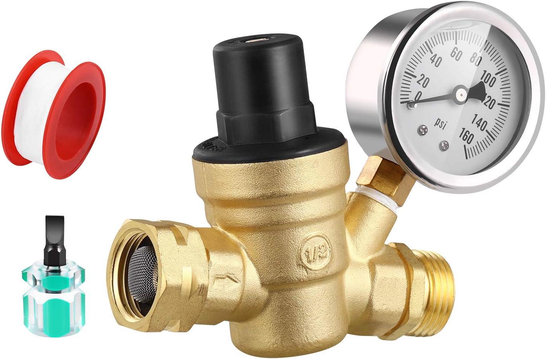 "GOLDPAR Water Pressure Regulator Valve Brass Lead Free with Oil Filled Gauge,3/4"" NH Lead-Free Brass Adjustable Pressure Reducer and Inlet Screened Filter for RV Camper Travel Trailer (Brass)"