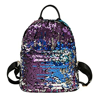 Sequin Backpack with Handle for Girls Flip Glitter Mermaid School Bag with Front Pocket Reversible Sequin
