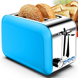 Toaster 2 Slice Stainless 2 Slice Toaster Best Rated Prime Wide Slot Toaster with Removable Crumb Tray 7 Bread Shade Settings, Bagel, Defrost, Cancel Function (Y-Blue)