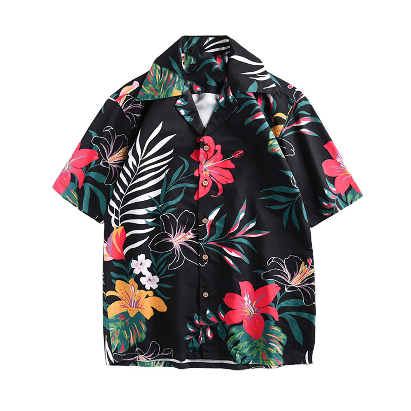 BAOHOKE Mens Summer Short Sleeve Fashion Beachwear T Shirt Printed Casual Tees (Green,L)