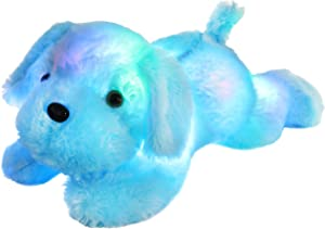 WEWILL LED Puppy Stuffed Animal Creative Night Light Lovely Dog Glow Soft Plush Toy Gifts for Kids on Christmas Birthday Festivals, 18-Inch, Blue (Blue)