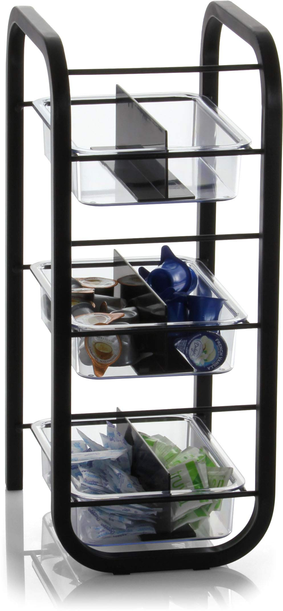 Officemate BreakCentral Breakroom 3 Tier Condiment and Coffee Pod Organizer, Black (28007)