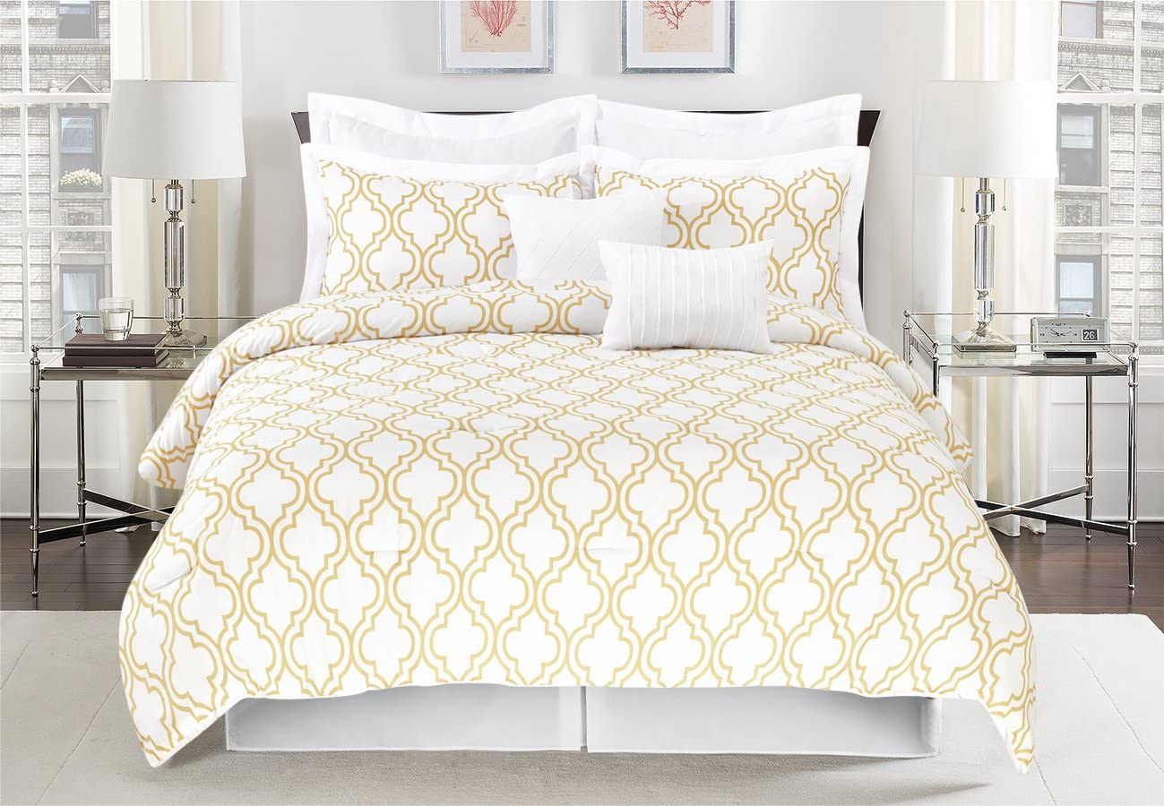 Unique Home 8 Piece Maison Pinch Pleat Reversible Bed in a Bag Comforter Set White/Taupe (Queen)
