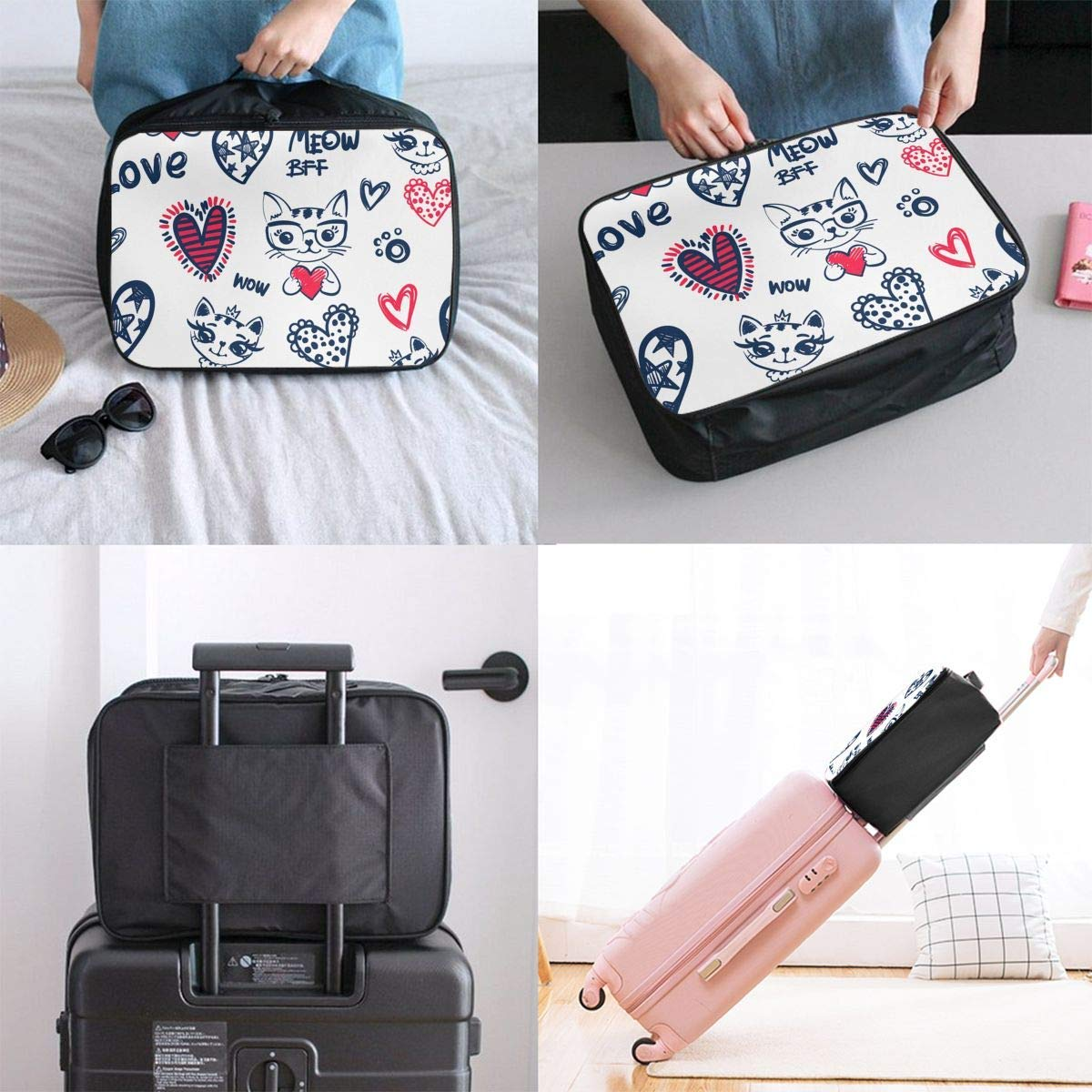 JTRVW Luggage Bags for Travel Meow Lovely Cat Pink Heart Travel Duffel Bag Waterproof Fashion Lightweight Large Capacity Portable Duffel Bag for Men /& Women