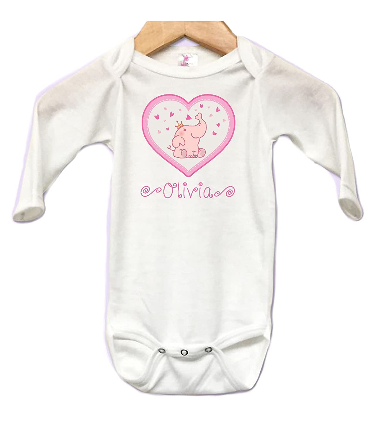 Cute Elephant Hearts Baby Onesie Bodysuit Long Sleeve Cute Personalized Custom Name 0 to 3 mos or 3 to 6 months for Girls