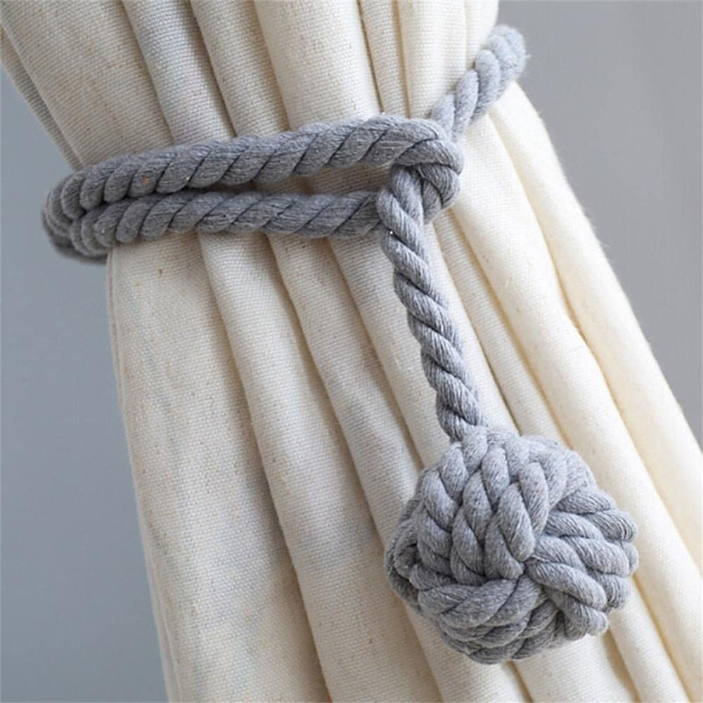 Beige Gaoya A Pair of Hand Knitting Curtain Rope Clips Holder Curtain Tie Back Band Holdbacks with Single Ball Indoor Bedroom Office