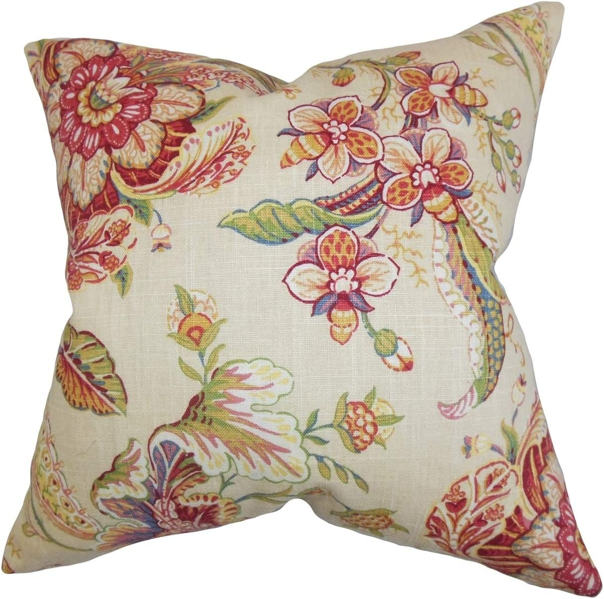 The Pillow Collection Iselin Floral White Down Filled Throw Pillow