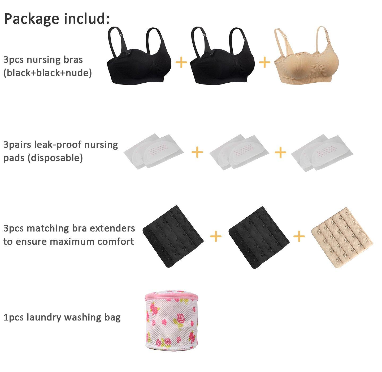 704f1595b6507 iLoveSIA 3pack Nursing Bra 1Nude+2Black Size XL Fit 38BC 36CD 34D 34DD  32DDD 30F 40B   Nursing   Maternity Bras   Clothing
