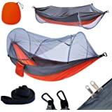 yoomo Camping Hammock with Mosquito Net & Tree Straps Lightweight Parachute Fabric Travel Bed for Hiking, Backpacking, Backya
