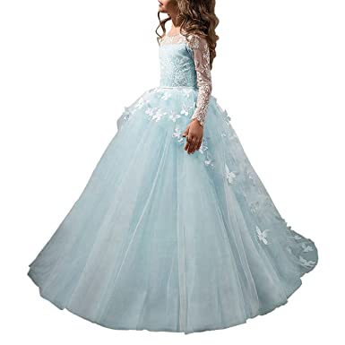 68d7621e912 SZMX Blue First Communion Dress Long Sleeves Flower Girls Dress Princess  Gowns