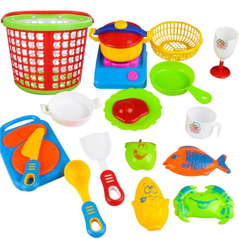 e-scenery子ごっこキッチンFoodプレイセットfor Kids , Cuttingフルーツ&野菜ごっこ遊びキッチン用品料理早期教育玩具 マルチカラー E-SCENERY  35pcs B079QYYHZQ
