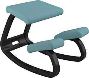 Varier Variable Balans Original Kneeling Chair Designed by Peter Opsvik (Turquoise Revive Fabric with Black Ash Base)