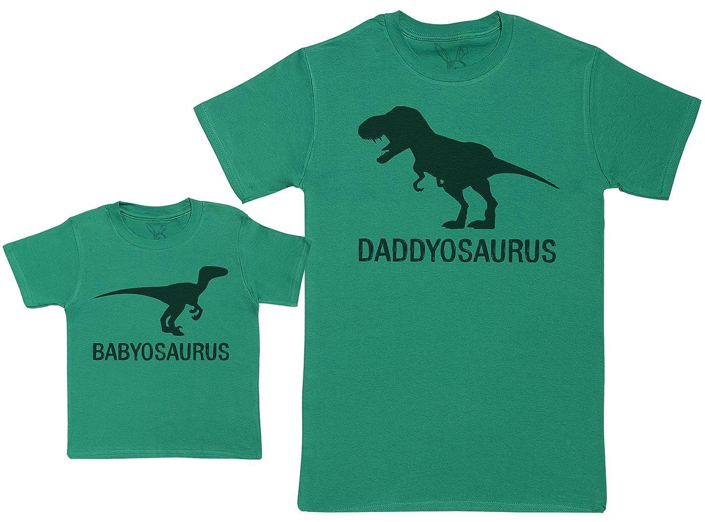 Regalo para Padres y beb/és en un Camiseta para beb/és y una Camiseta de Hombre a Juego Babyosaurus with Daddyosaurus