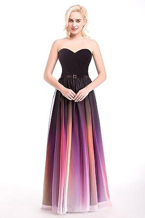 Www Usa Womens Sexy Party Dress Strapless Multi Color Chiffon