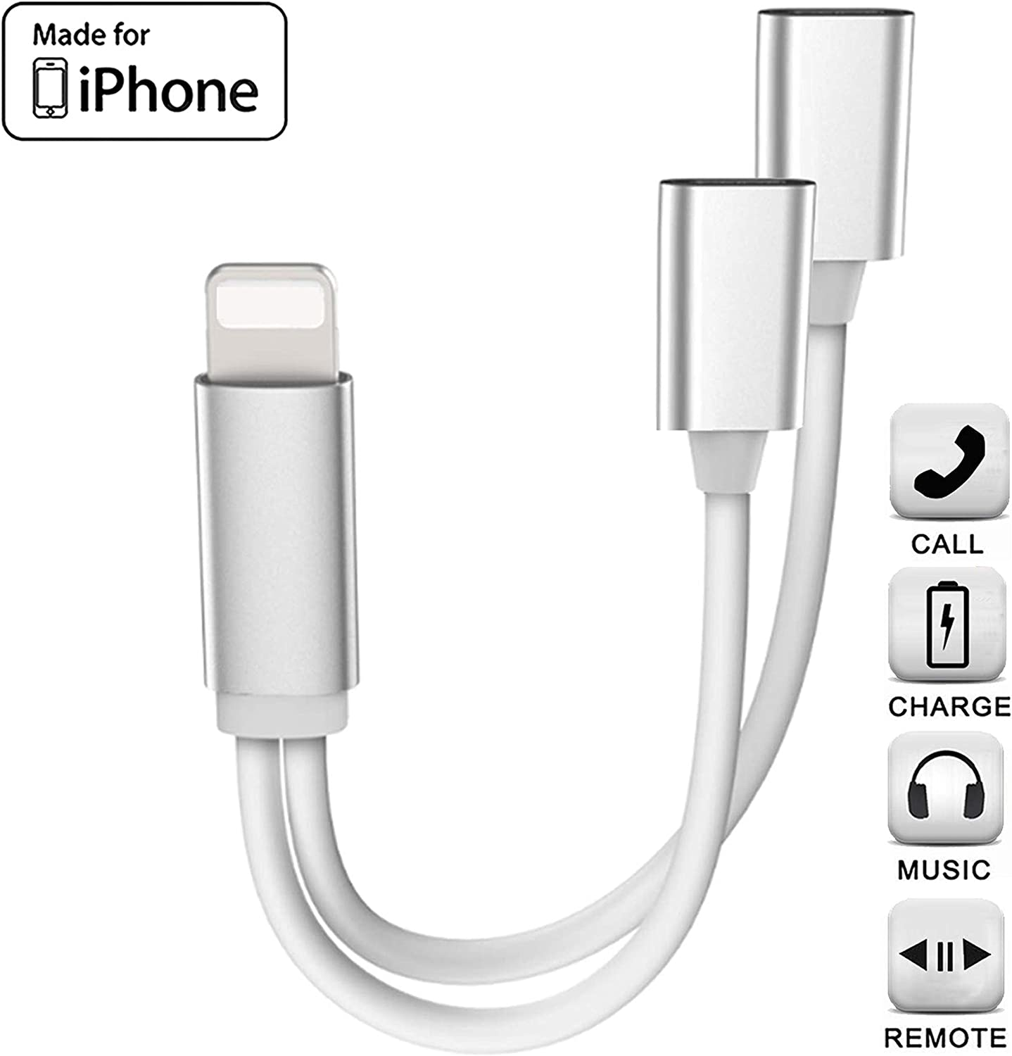 iPhone Adapter & Splitter, [Apple MFi Certified] 2 in 1 Dual Lightning Headphone Jack AUX Audio and Charge Adaptor Dongle Cable Compatible for iPhone 11 pro/Xs Max/XR/X/8/7 Support All iOS System