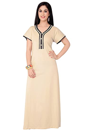FARRY Women Cotton Jersey Nighty   Nightgown   Sleepwear   Maxi   Plus Size  Also Available (Large) Beige  Amazon.in  Clothing   Accessories 06684f35d