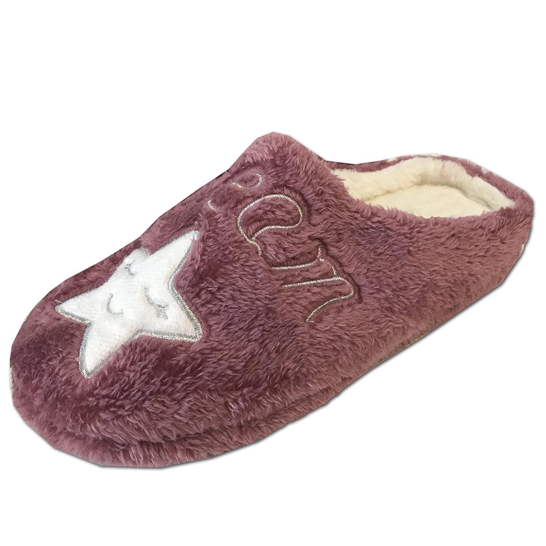 Damen Mädchen Hausschuhe Schuhe von JEMIDI Haus Schlappen Hüttenschuhe Pantoffel Pantolette Sweet Dreams Beere