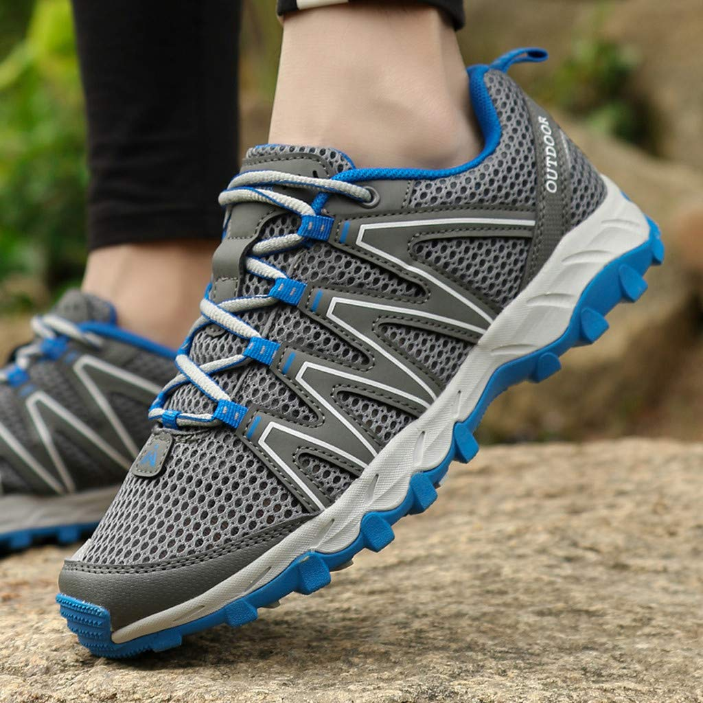 Hiking Sneakers Men,Mosunx Athletic 【Mesh Breathable Non-Slip】Lightweight Lace Up Outdoor Trail Walking Shoes Climbing Shoes (10 M US, Gray) by Mosunx Athletic (Image #4)